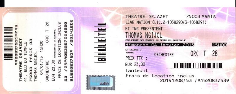 """THOMAS NGIJOL (spectacle & one-man-show """"2"""") 04/01/2015 Théâtre Déjazet (Paris) : compte rendu 15011711265217899512884619"""