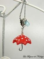 bijoux fimo sautoir parapluie rouge à pois blanc