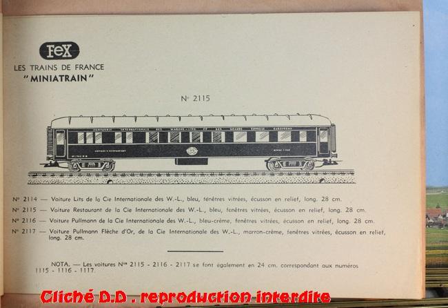 WAGONS MARTIN/FEX-MINIATRAIN 4 éme série 1953/54 1ère partie wagons longueur 23 cm 15020904393616773112947248