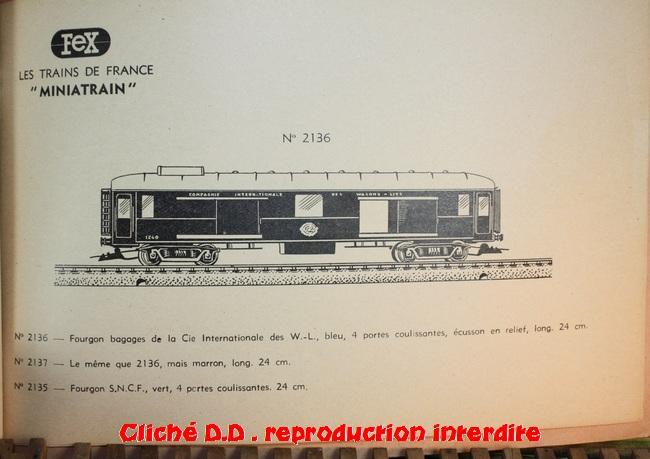 WAGONS MARTIN/FEX-MINIATRAIN 4 éme série 1953/54 1ère partie wagons longueur 23 cm 15020904393916773112947250