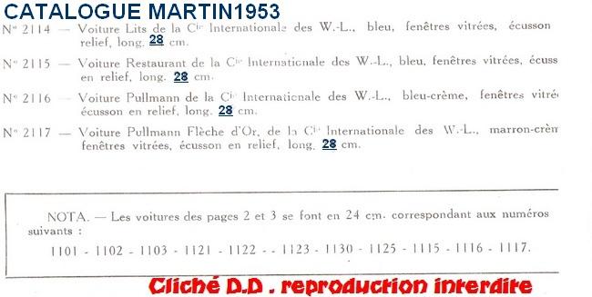 WAGONS MARTIN/FEX-MINIATRAIN 4 éme série 1953/54 1ère partie wagons longueur 23 cm 15020911240116773112948676