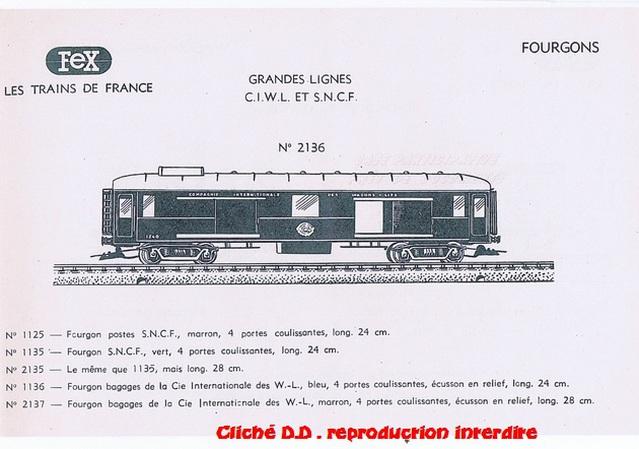 WAGONS MARTIN/FEX-MINIATRAIN 4 éme série 1953/54 1ère partie wagons longueur 23 cm 15021006104916773112951705