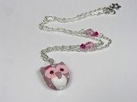 collier enfant chouette hibou taupe et rose