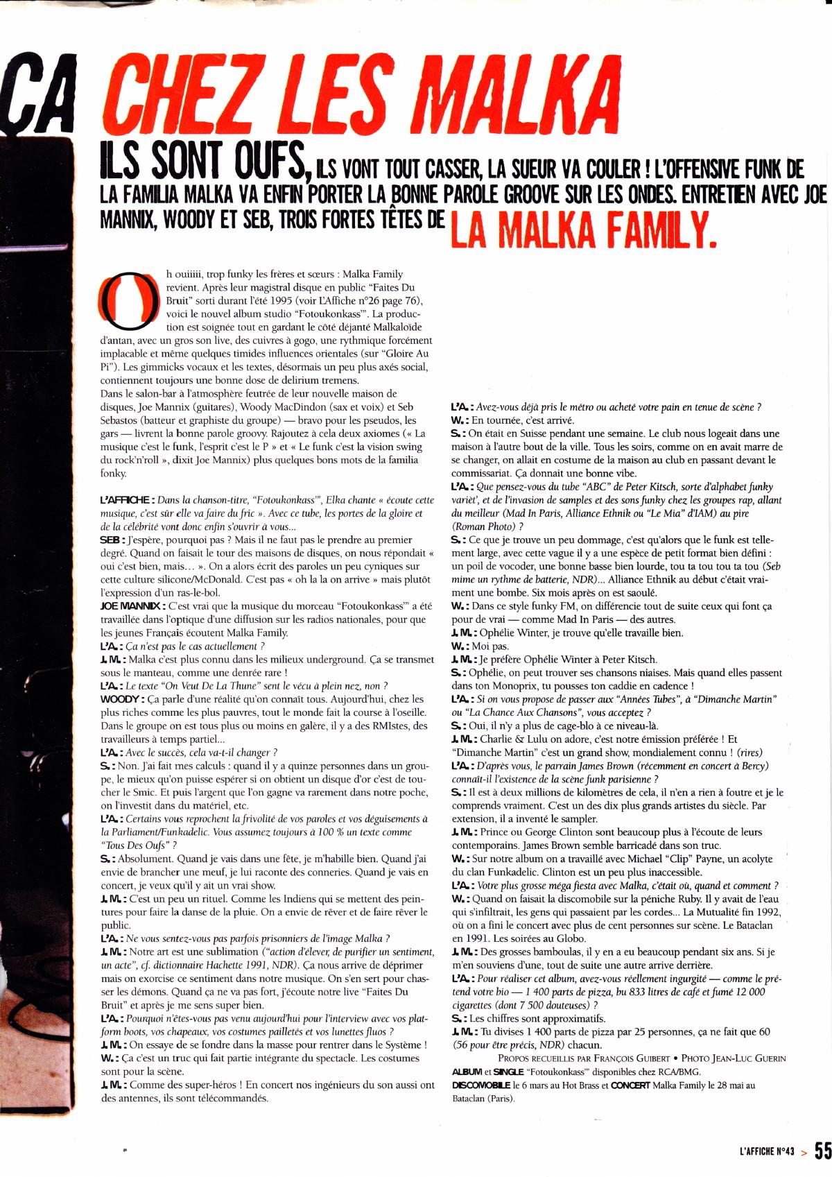 """MALKA FAMILY : """"Ça se passe comme ça chez les Malka"""" (""""L'Affiche"""", interview 1997, album """"Fotoukonkass"""") 15040809132617899513153138"""