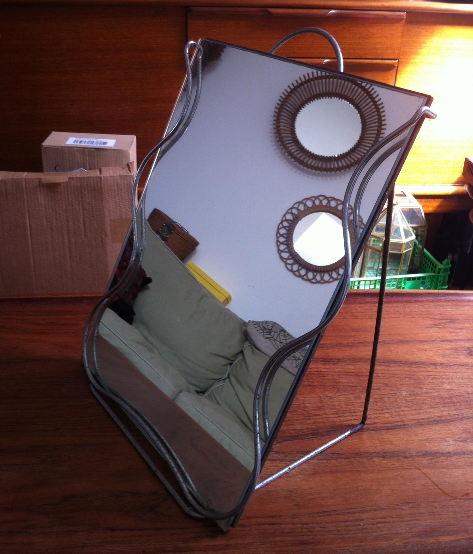 Ancien miroir de chausseur vintage mirror industrial shoes for Miroir plein pied