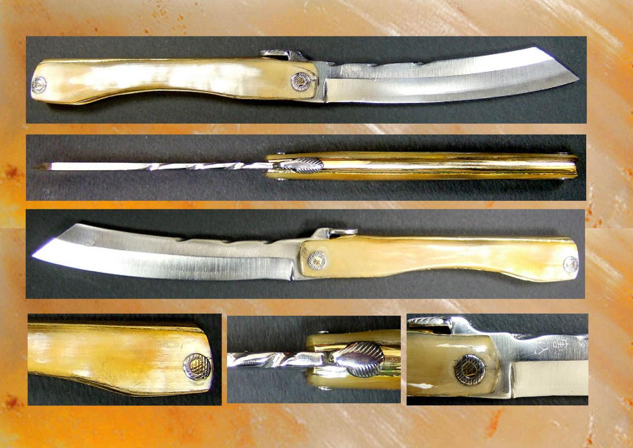 ancien couteau traditionnel japonais higonokami corne blonde highlands. Black Bedroom Furniture Sets. Home Design Ideas