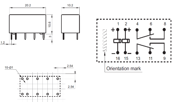 Lot de 5 Relais de Verrouillage Miniatures DPDT HFD2 12 V