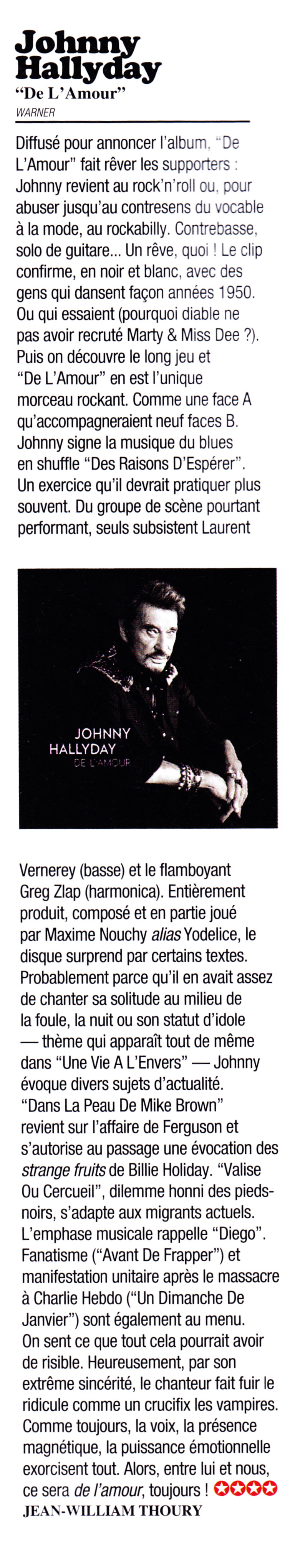 "Chronique par JEAN WILLIAM THOURY de l'album ""DE L'AMOUR"" de JOHNNY HALLYDAY (dans ""Rock Et Folk"") 15111907390117899513763865"