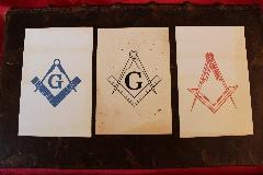 Album BLEU BLANC ROUGE -FRANC-MAçONNERIE- 3 ANCIENNES CARTES POSTALES- Freemason- LOTB