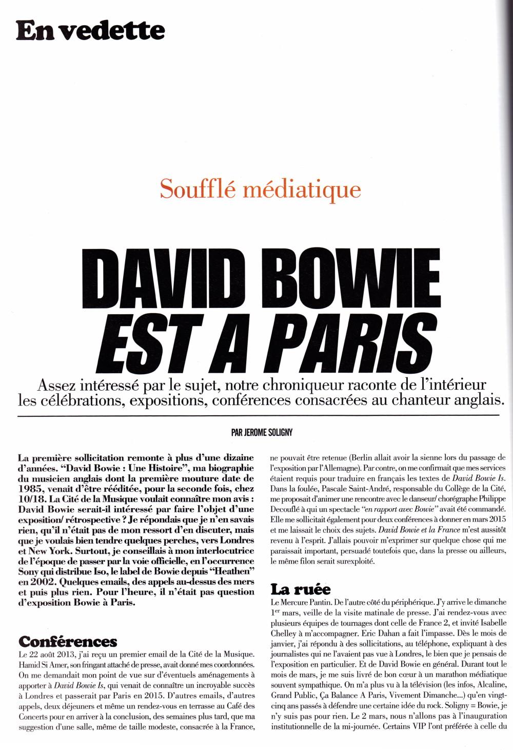 """Visite de l'exposition """"DAVID BOWIE IS"""" à la Philharmonie de Paris 2015 par JERÔME SOLIGNY (""""Rock Folk"""", mai 2015) 16011109071320773813888103"""