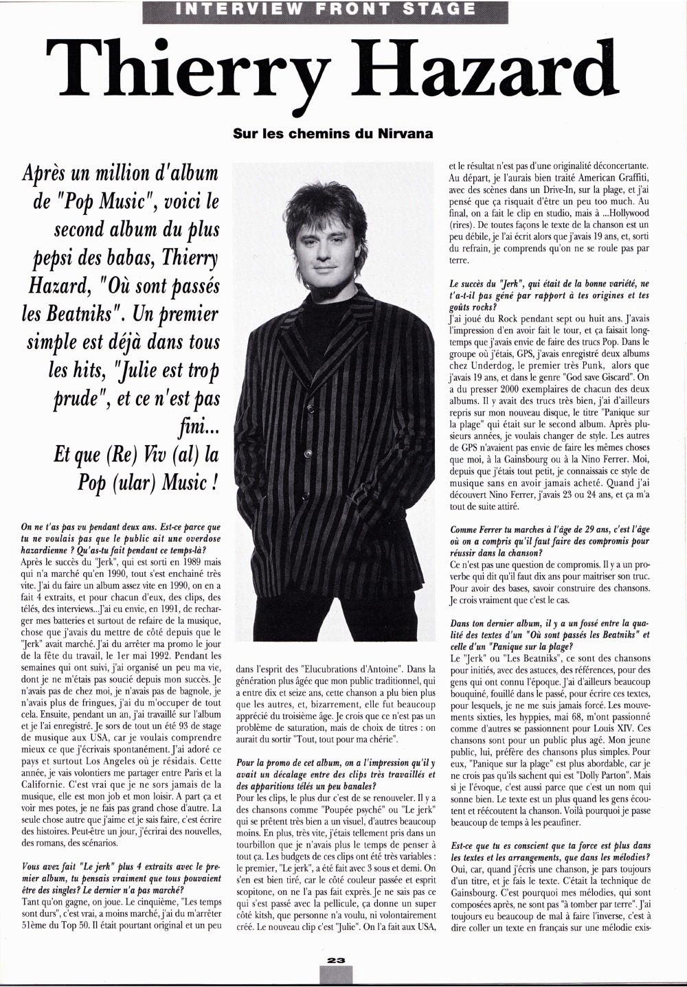 """THIERRY HAZARD (G.P.S., """"Le jerk"""") : interview 1993 dans """"Platine"""" (par Christophe Daniel & Jean-Pierre Pasqualini) 16011111424920773813888359"""