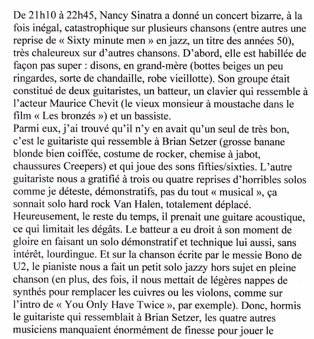 """An Evening With NANCY SINATRA"" 17/04/2005 Grand Rex (Paris) : compte rendu (review)  16011208075320773813889616"