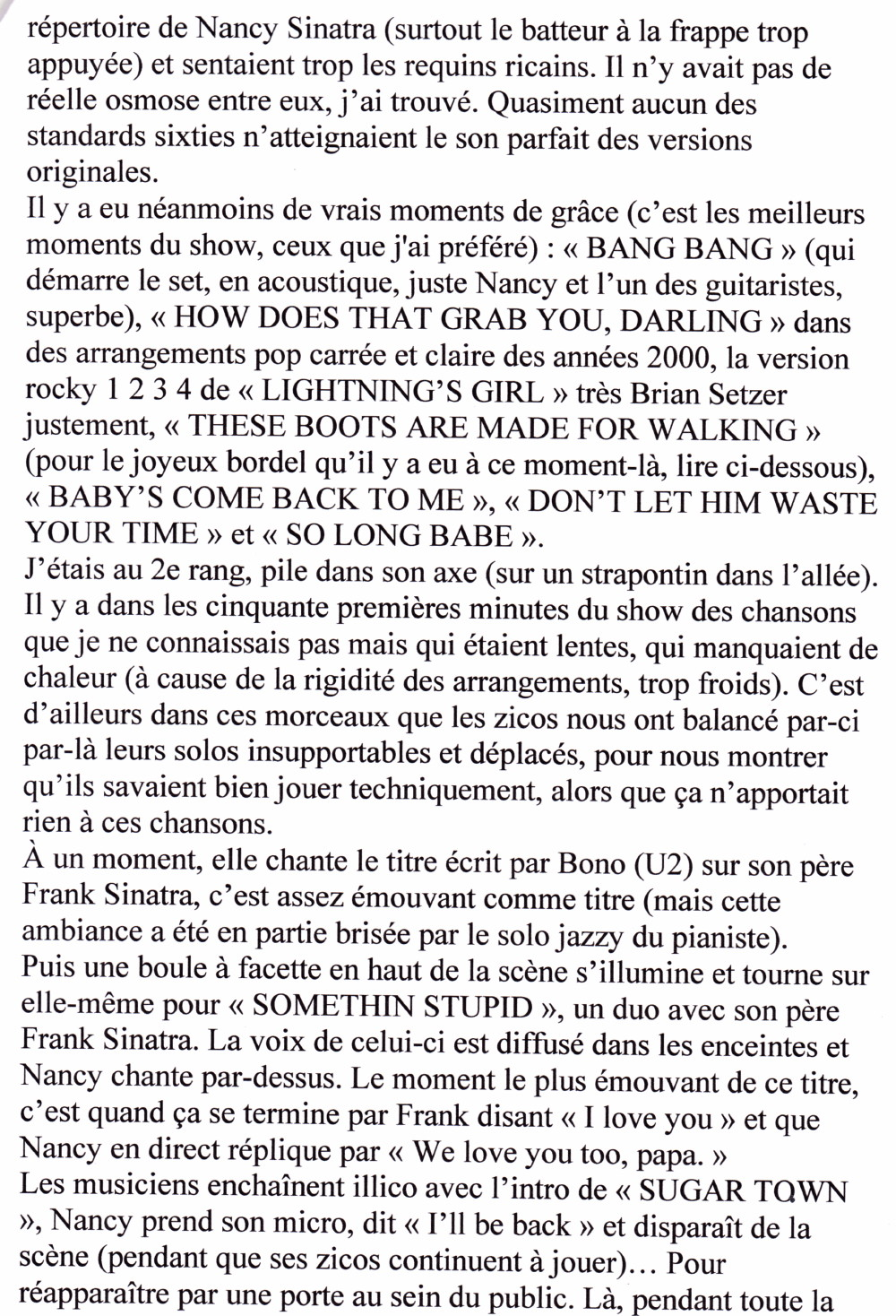 """An Evening With NANCY SINATRA"" 17/04/2005 Grand Rex (Paris) : compte rendu (review)  16011208075920773813889617"