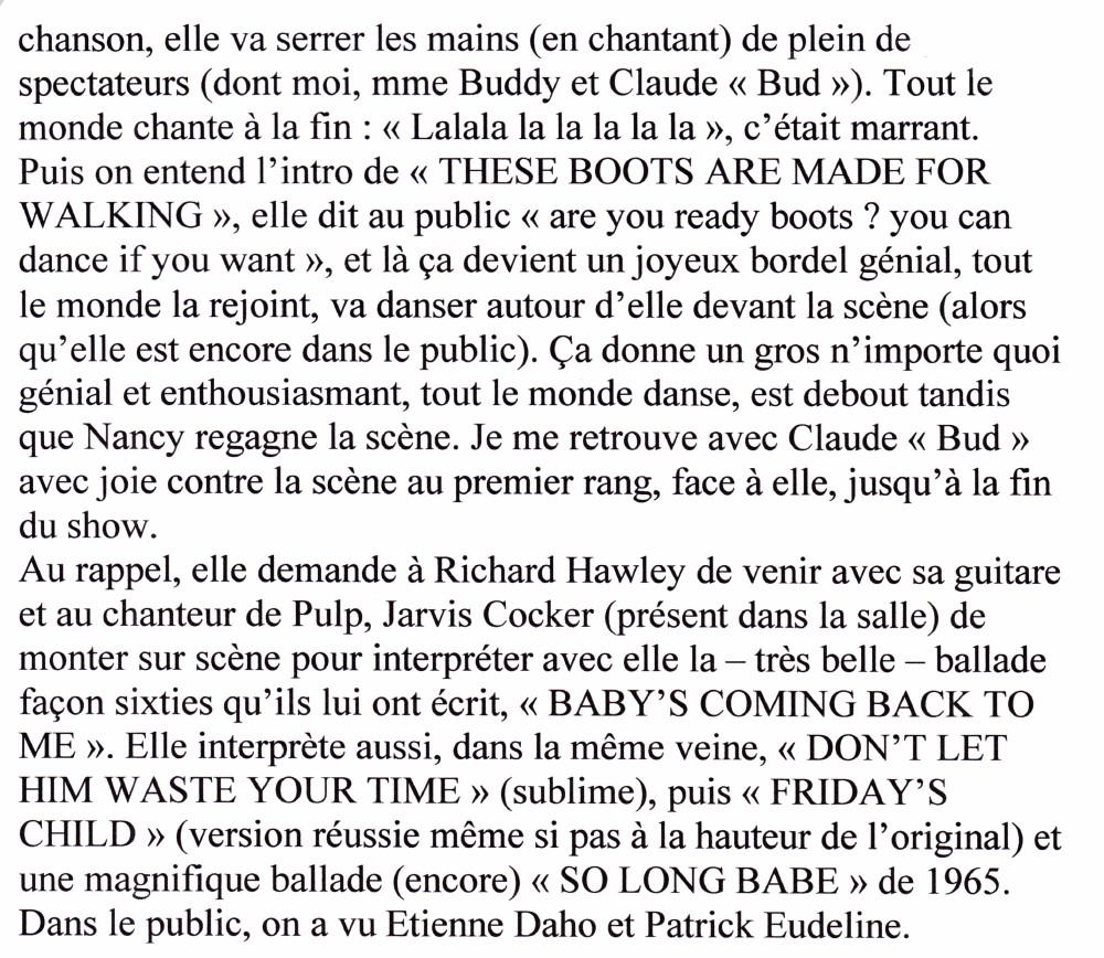 """An Evening With NANCY SINATRA"" 17/04/2005 Grand Rex (Paris) : compte rendu (review)  16011208080320773813889618"
