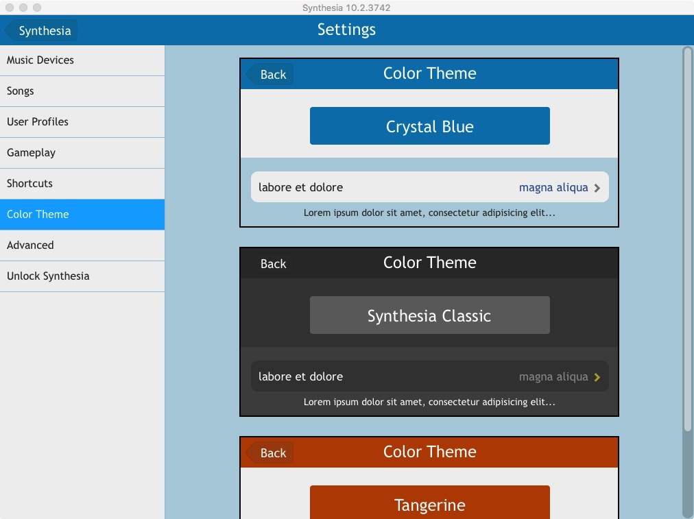 Synthesia Flat settings