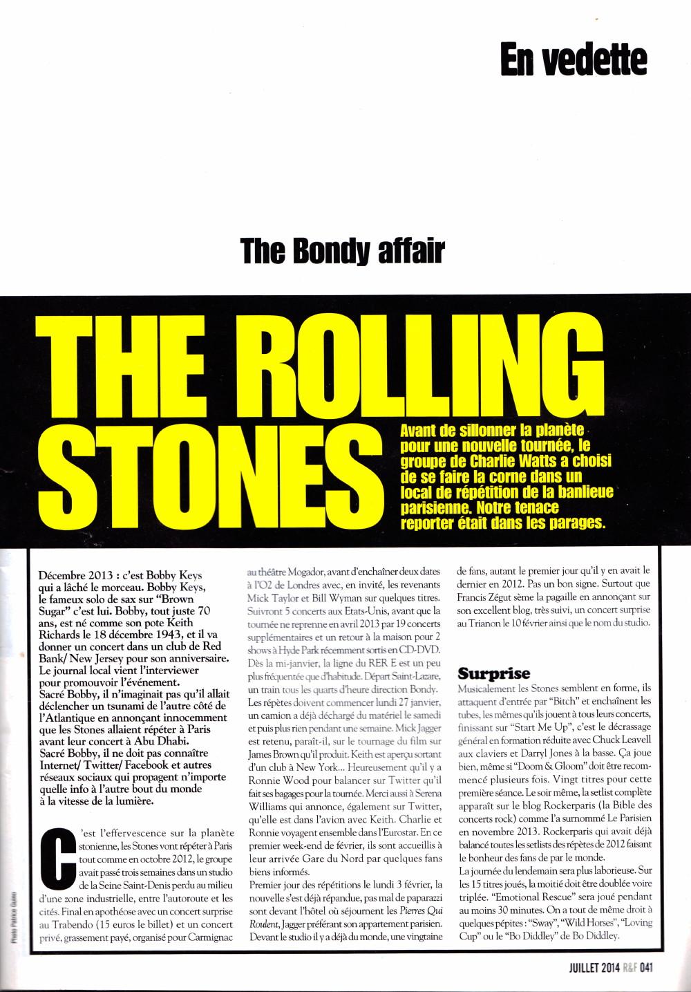 """THE ROLLING STONES : The Bondy Affair"" (""Rock&Folk"", juillet 2014) 16021911261020773813986973"