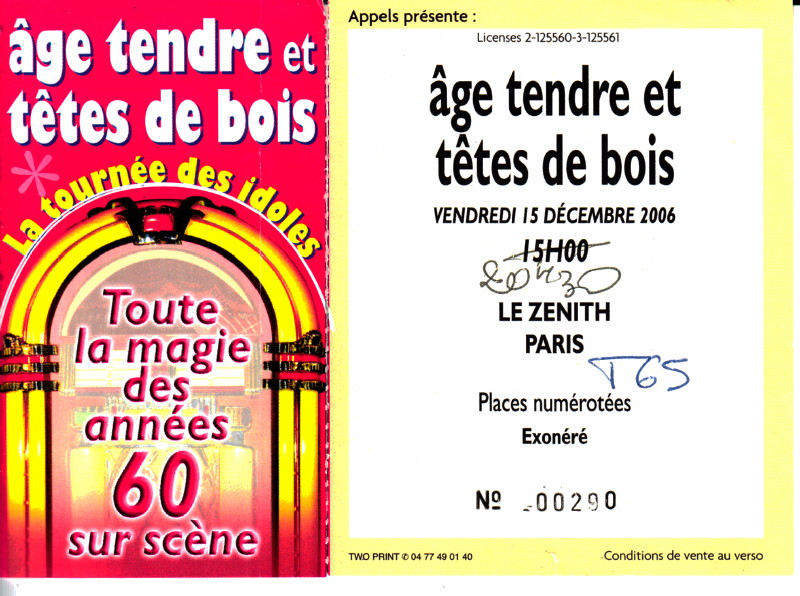 """(archive) """"ÂGE TENDRE ET TETES DE BOIS"""", 15 décembre 2006, Zénith (Paris) : compte rendu 16022705071020773814011953"""