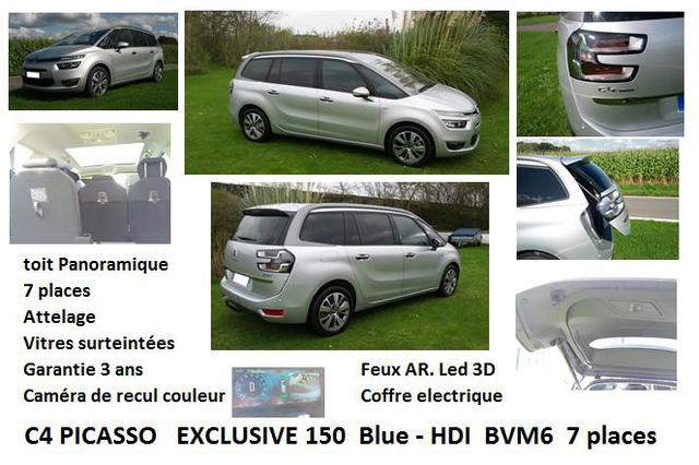 citroen grand c4 picasso 7 places 150 cv blue hdi fap bvm6 options a vendre le blog d. Black Bedroom Furniture Sets. Home Design Ideas