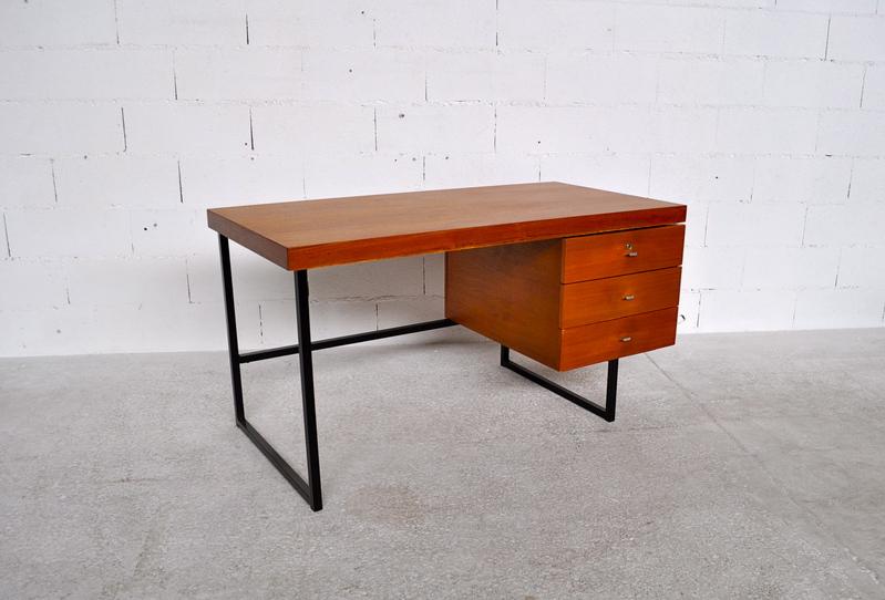 bureau teck pierre guariche meurop diteur ann es 60 39 ebay. Black Bedroom Furniture Sets. Home Design Ideas
