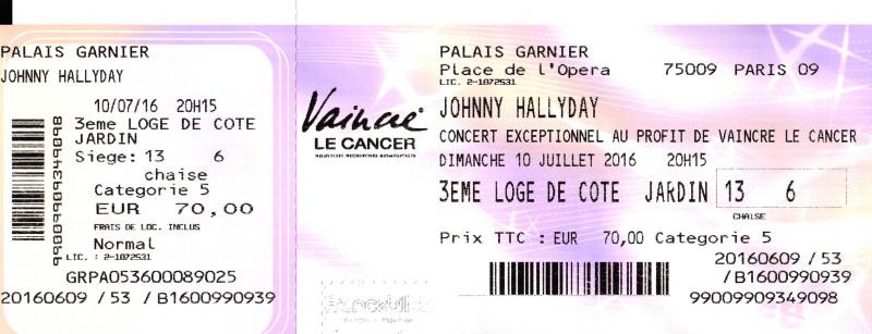 """JOHNNY HALLYDAY 10/07/2016 Concert """"Vaincre le cancer"""" à l'Opéra Garnier (Paris) : en écoutec 16071108110820773814368163"""