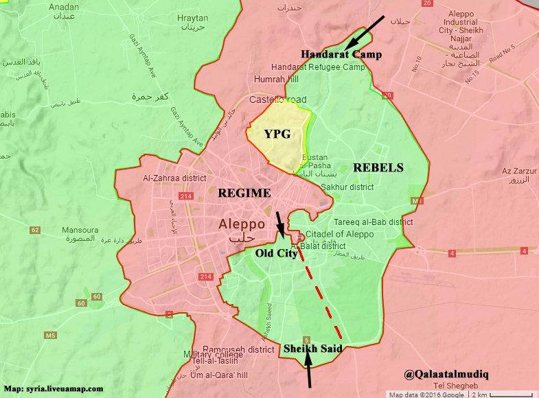 La situation actuelle à Alep, coupée en deux. Crédits: voir image