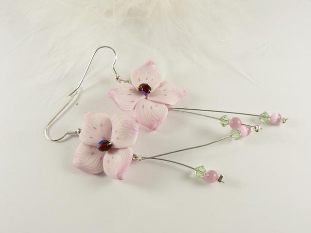 Boucles d'oreilles mariée fleur de cerisier