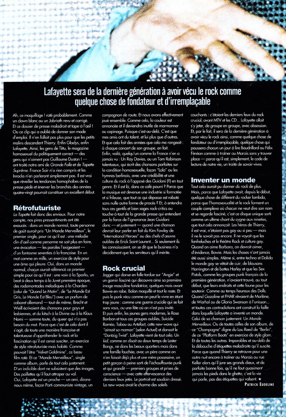 """""""Le monde merveilleux"""" de THIERRY LAFAYETTE par PATRICK EUDELINE 1999 (""""Rock Folk"""") 16102309301920773814577175"""