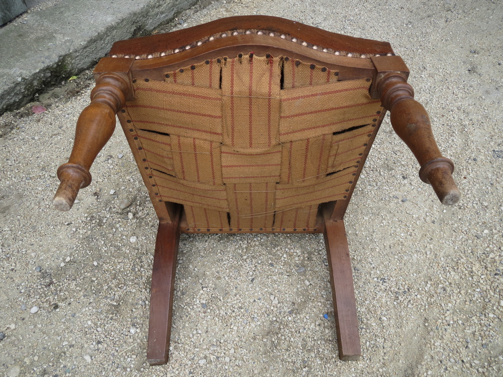 ancien prie dieu en bois noyer et assise tissu french antique religious chair ebay. Black Bedroom Furniture Sets. Home Design Ideas