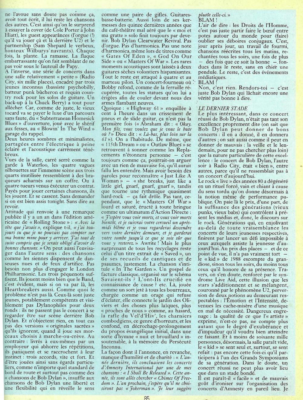 """BOB DYLAN, TOM PETTY & THE HEARTBREAKERS par LAURENT CHALUMEAU 1987 (""""Rock Folk"""") 16112708465120773814663432"""