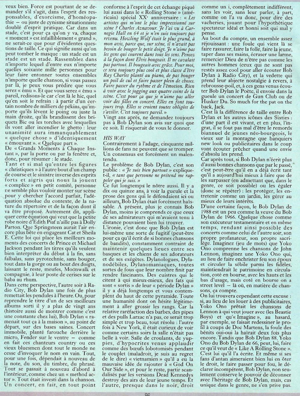 """BOB DYLAN, TOM PETTY & THE HEARTBREAKERS par LAURENT CHALUMEAU 1987 (""""Rock Folk"""") 16112708465920773814663433"""