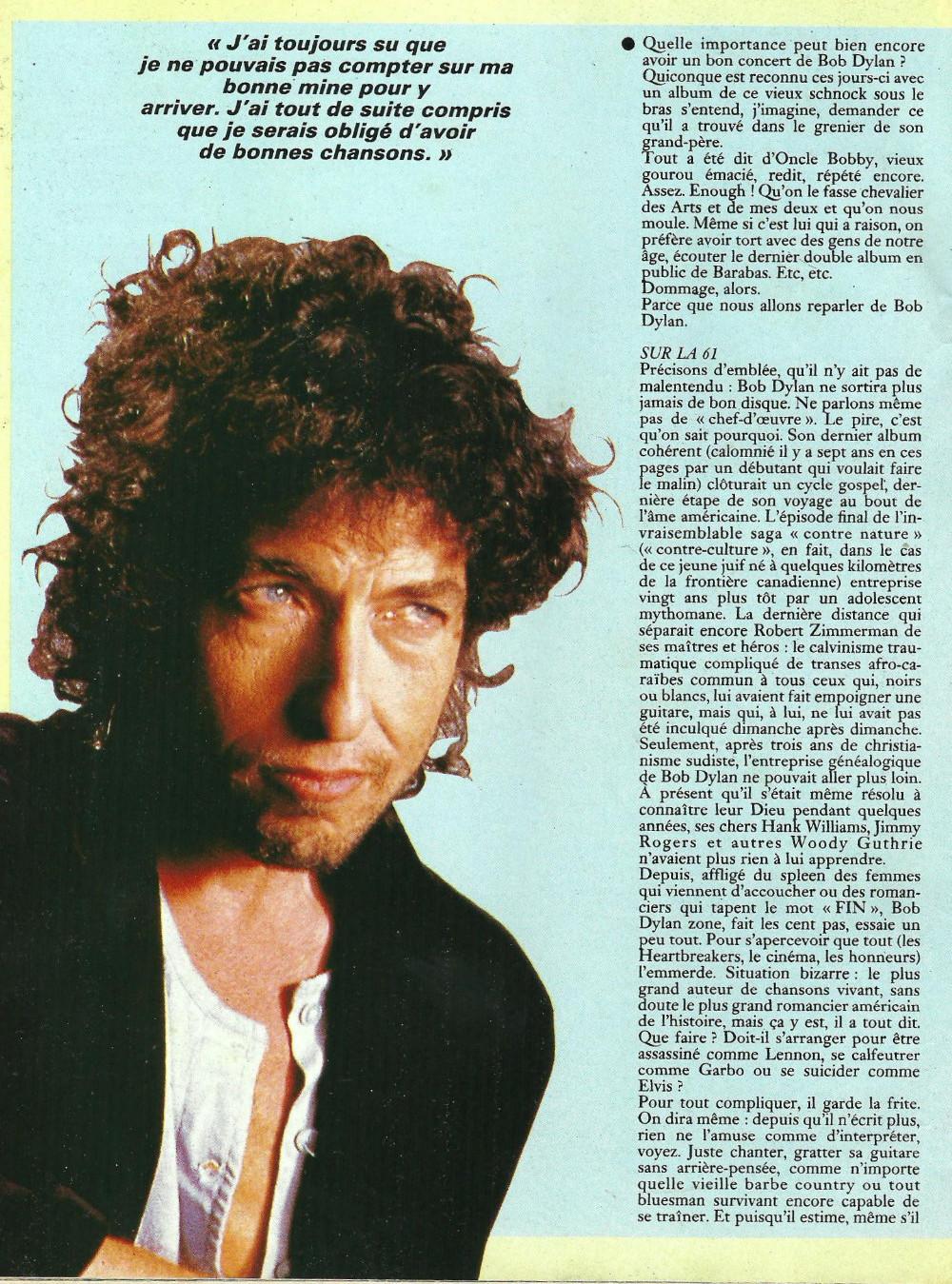 """BOB DYLAN, TOM PETTY & THE HEARTBREAKERS par LAURENT CHALUMEAU 1987 (""""Rock Folk"""") 16112708470920773814663435"""