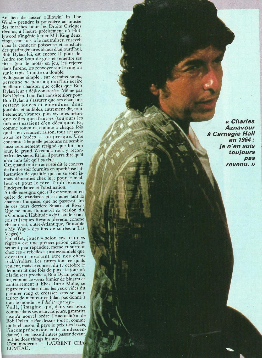 """BOB DYLAN, TOM PETTY & THE HEARTBREAKERS par LAURENT CHALUMEAU 1987 (""""Rock Folk"""") 16112708472120773814663436"""