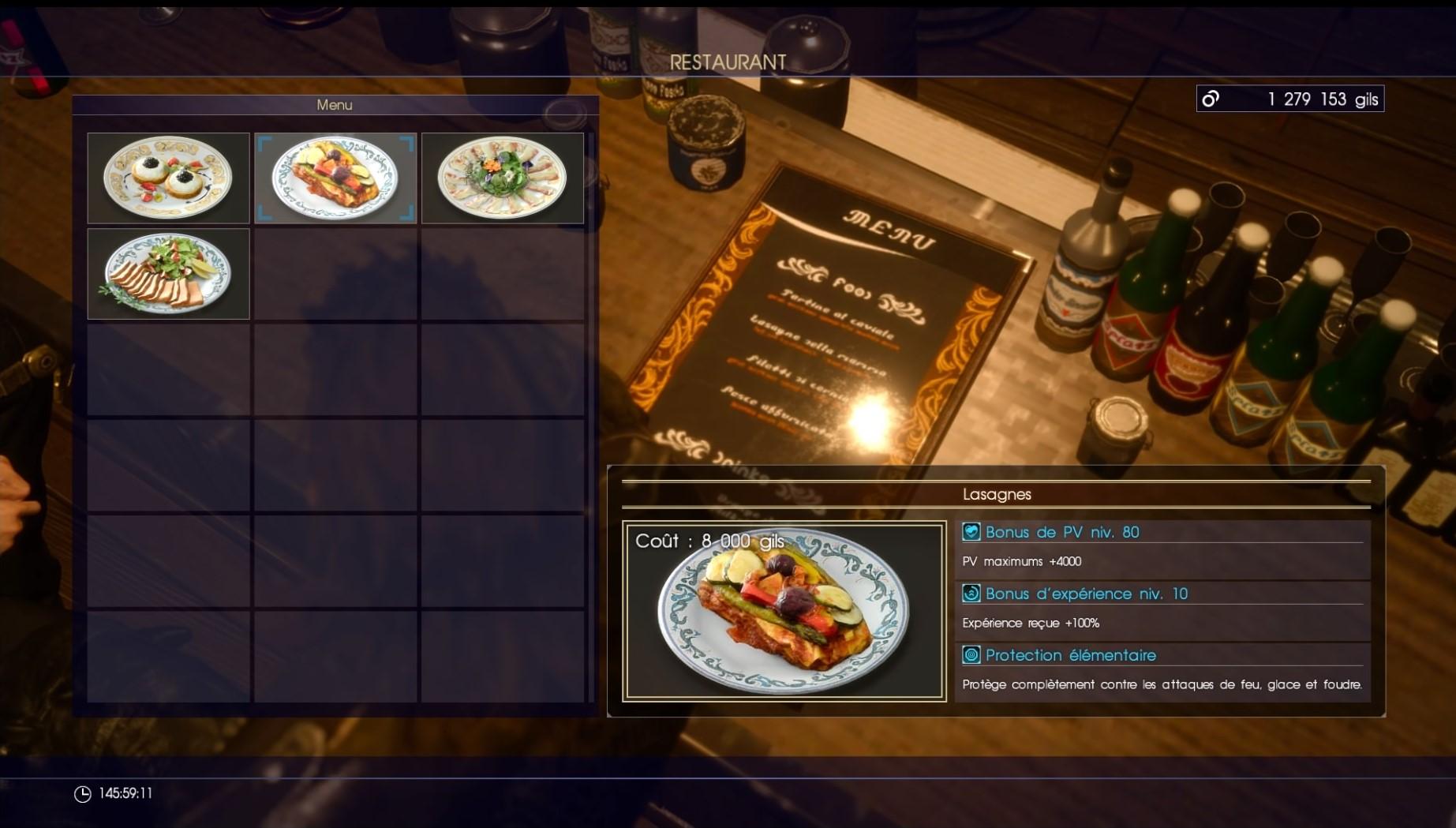 Final Fantasy xv lasagne exp 100%