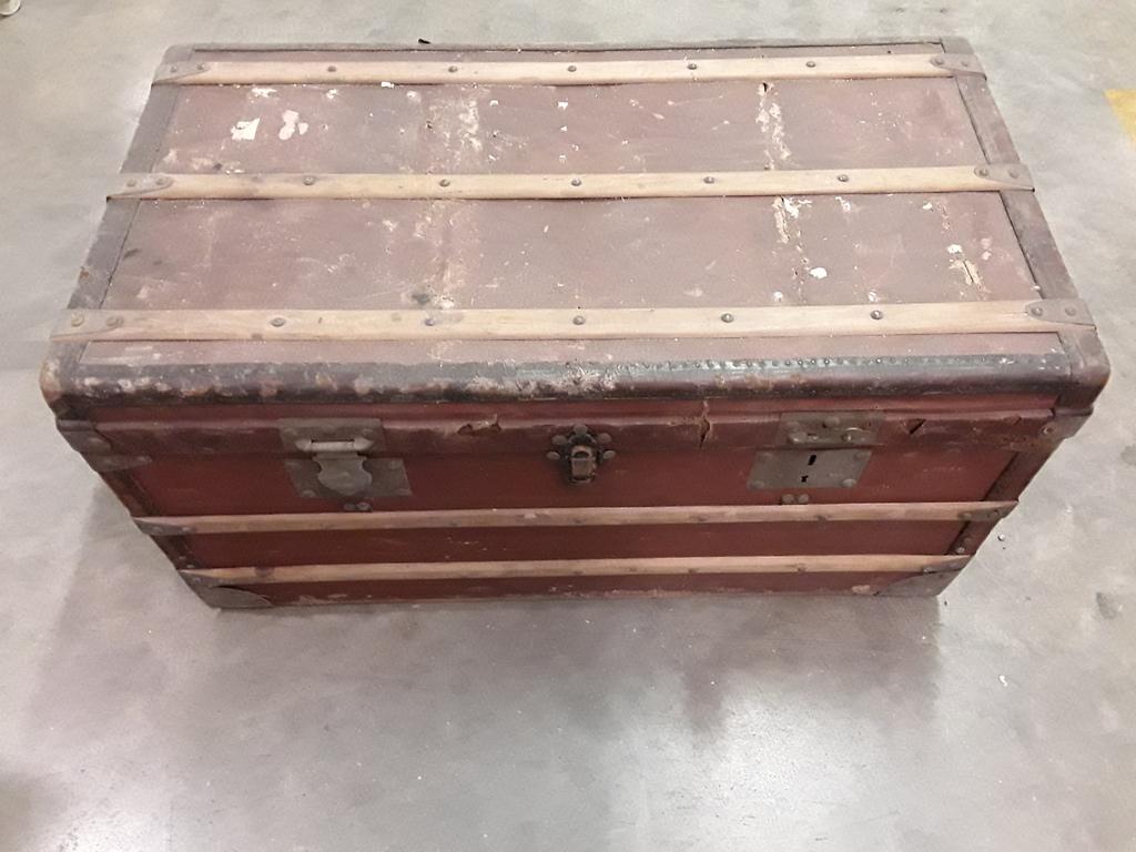ancienne malle en bois coffre valise french antique ebay. Black Bedroom Furniture Sets. Home Design Ideas
